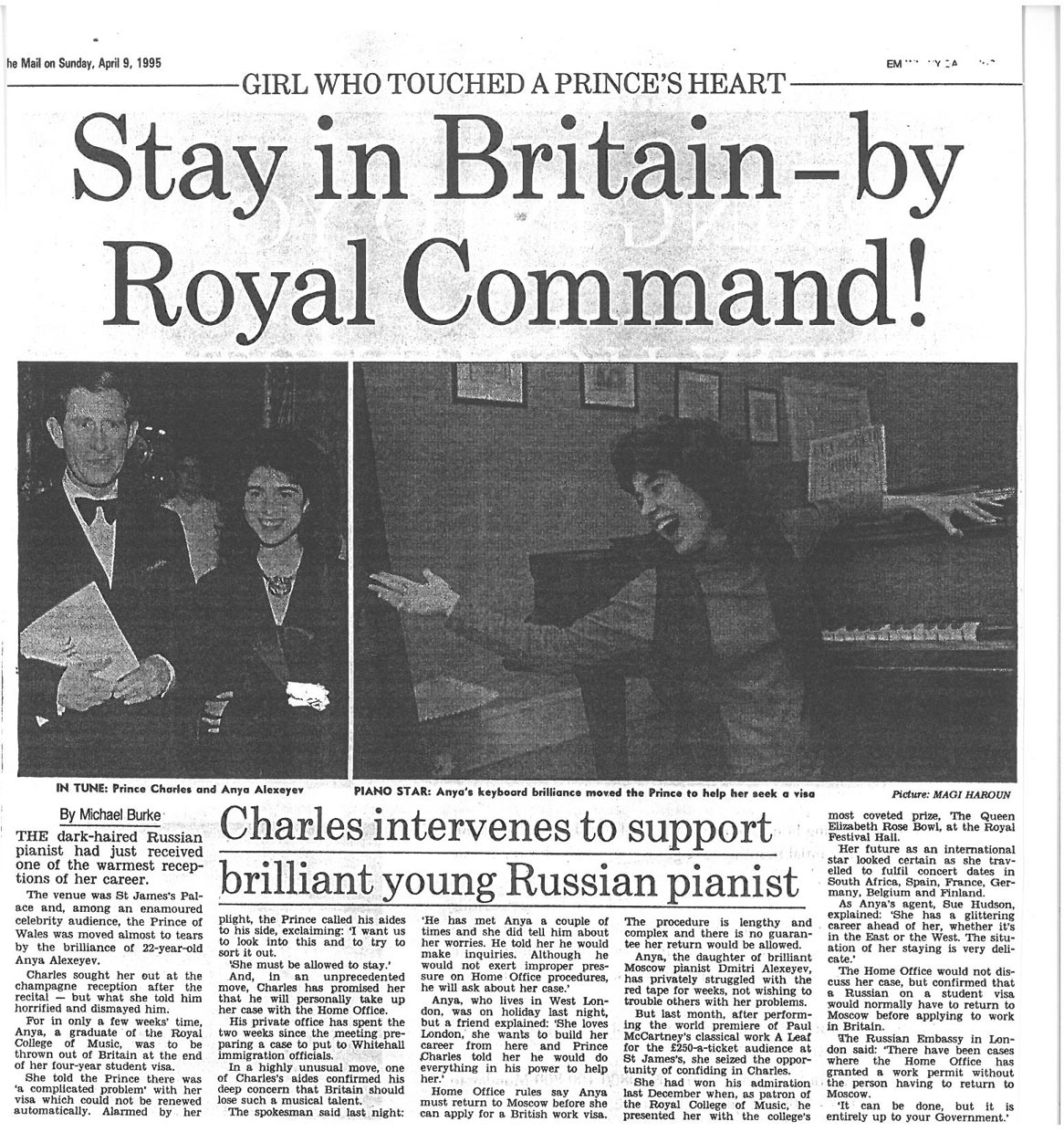 Article, 1995, The Mail on Sunday