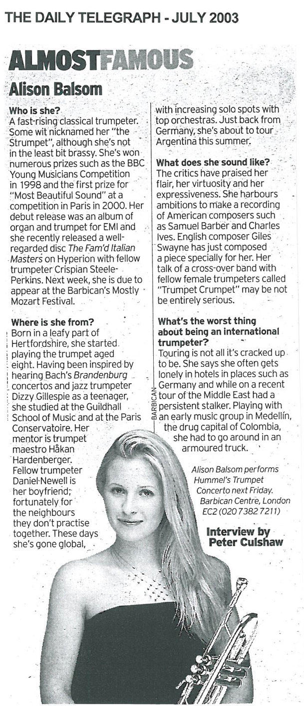 Article, 2003, The Daily Telegraph