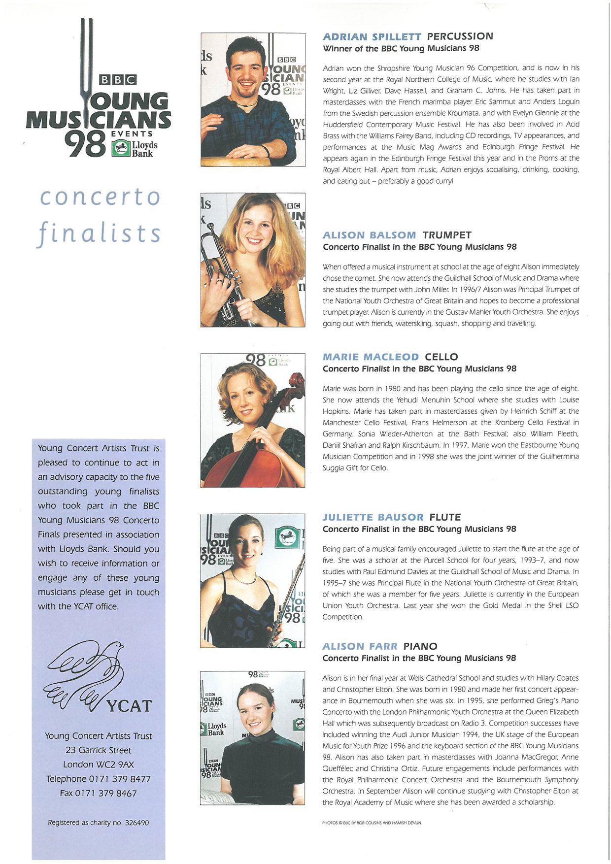 BBC Young Musician Concerto Finalists 1998