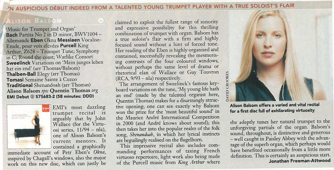 CD Review, Music for Trumpet and Organ