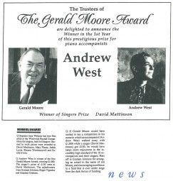 News, 1991, Gerald Moore Award