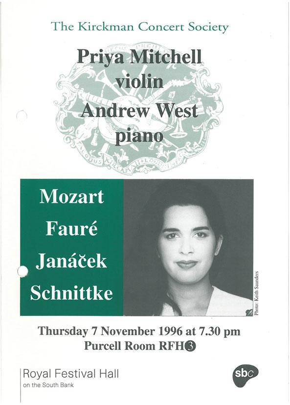 Programme, 1996, Kirckman Concert Society
