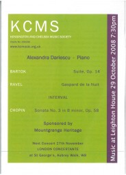 Programme, 2008, Kensington and Chelsea Music Society