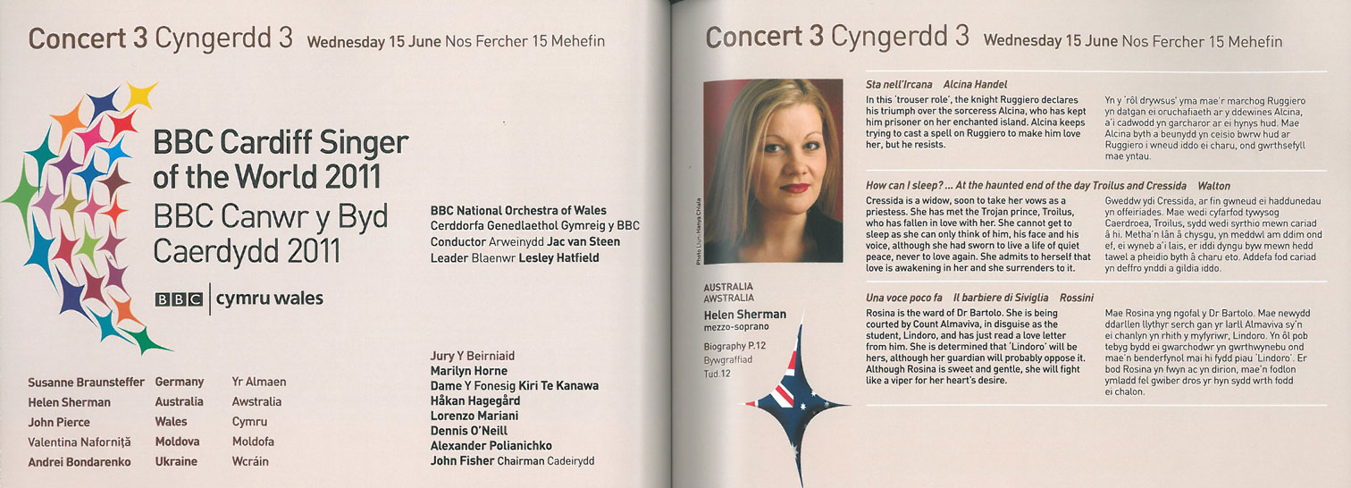 Programme, 2011, Cardiff Singer of the World