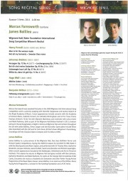 Programme, 2011, Wigmore Hall with Marcus Farnsworth