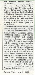 Review, 1985, Classical Music, Kathleen Ferrier Award
