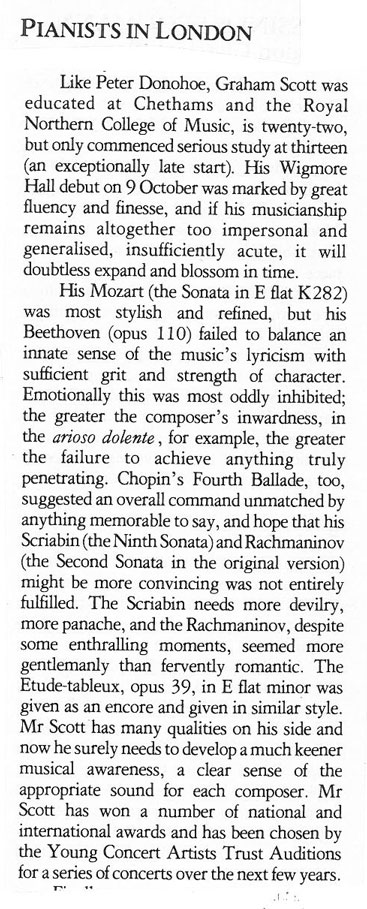 Review, 1989,  Music and Musicians