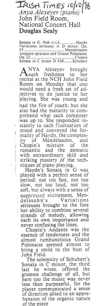 Review, 1996, Irish Times
