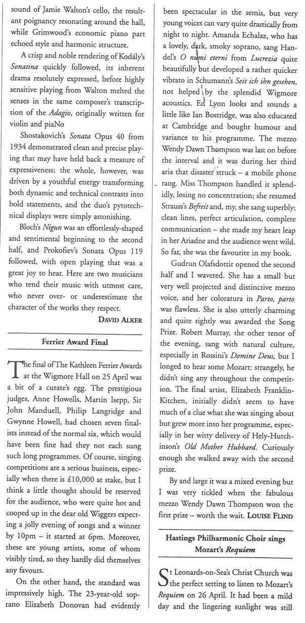 Review, 2003, Musical Opinion