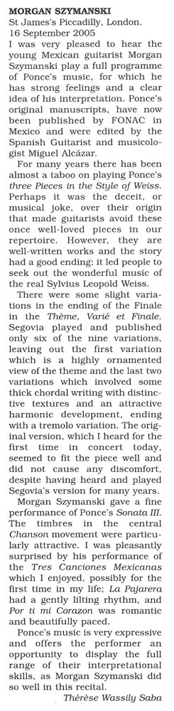 Review, 2005, Classical Guitar Magazine
