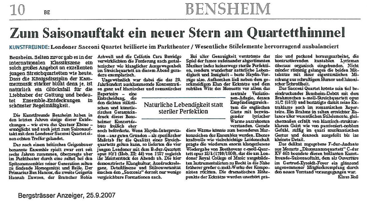 Review, 2007, Bergstrasser Huzeiger