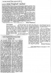 Reviews, 1986, The Times and The Daily Telegraph