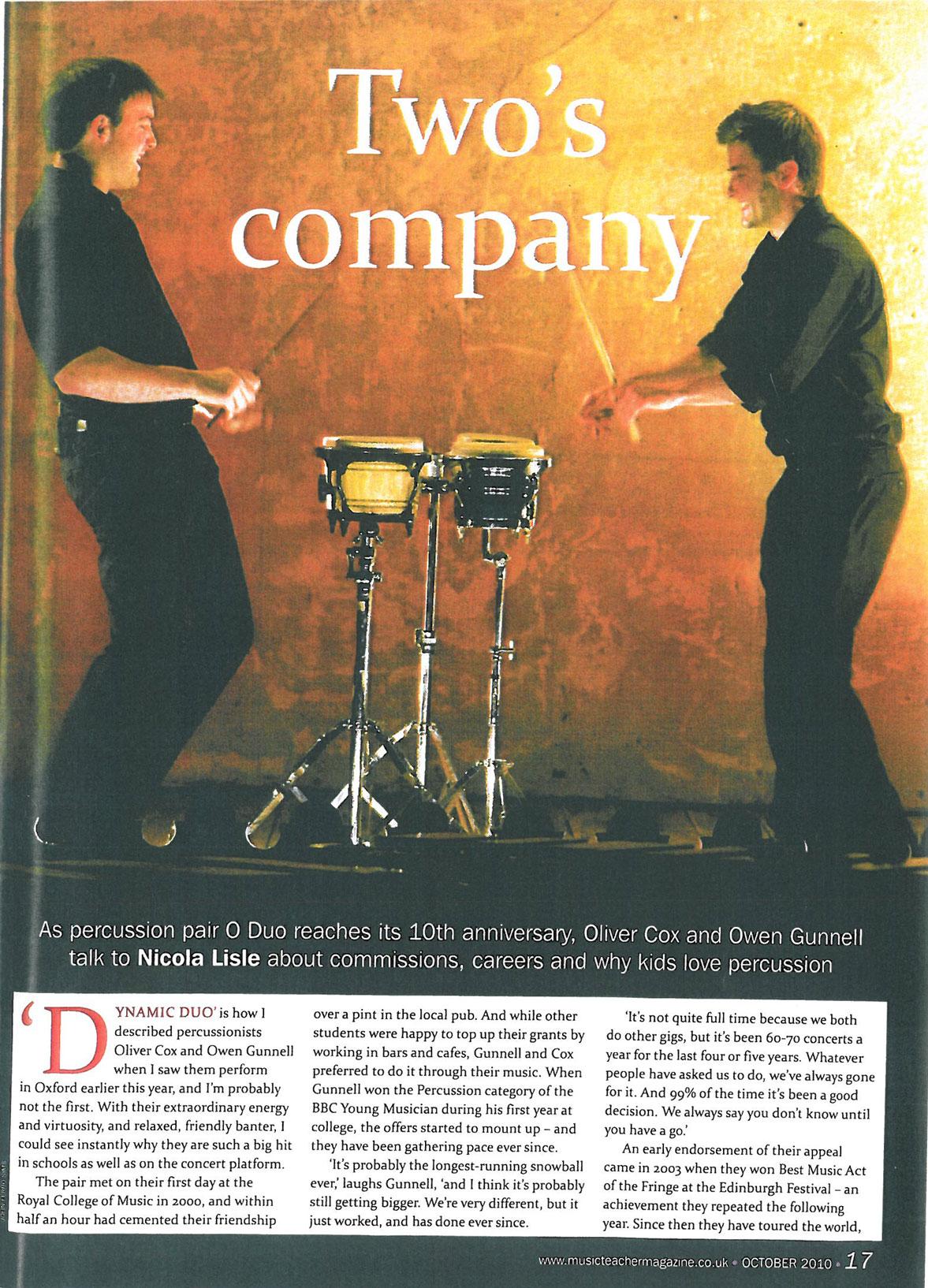 Article, 2010, Music Teacher Magazine, p1