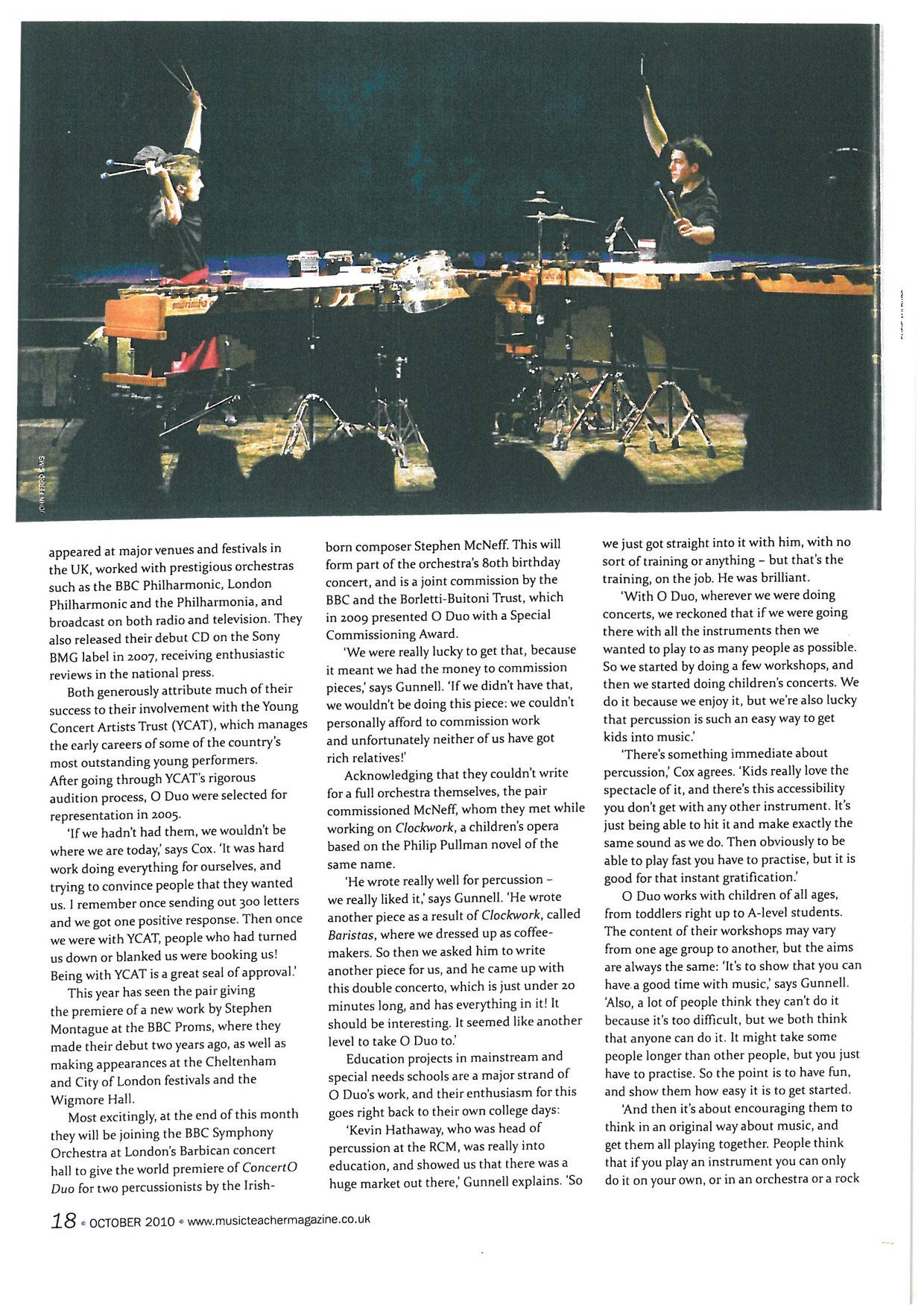 Article, 2010, Music Teacher Magazine, p2