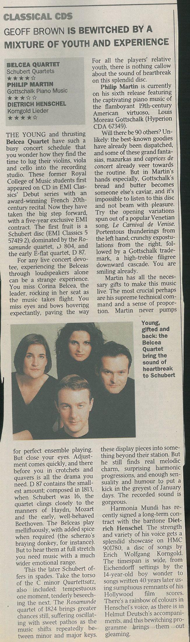 CD Review, Schubert Quartets