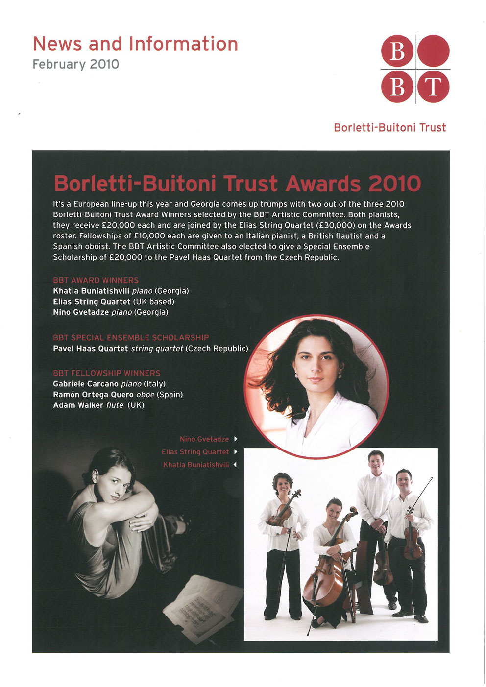 News, 2010, Borletti-Buitoni Trust