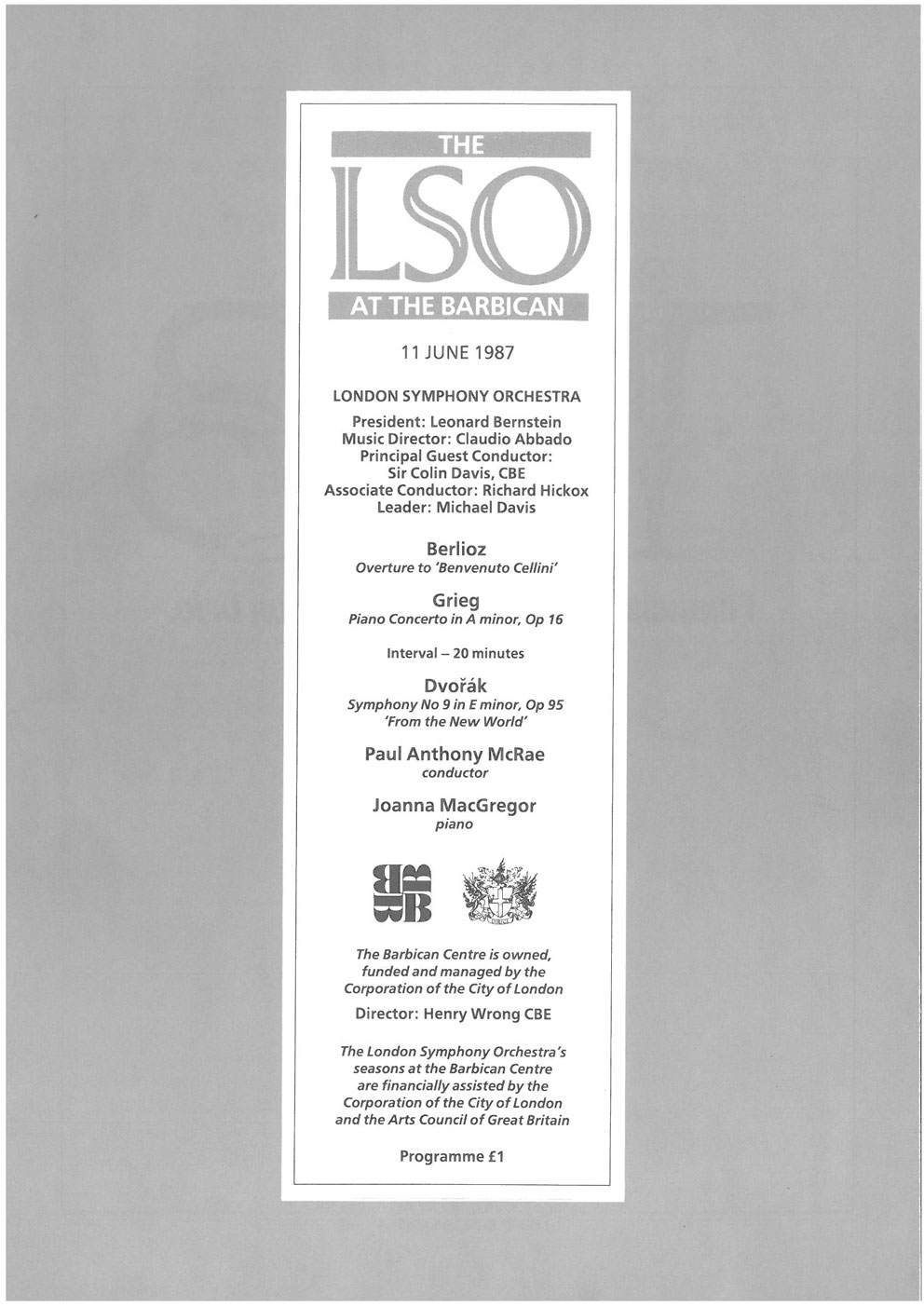 Programme, 1987, LSO at the Barbican