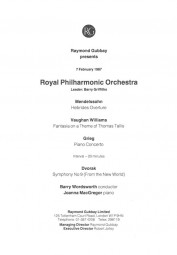 Programme, 1987, Royal Philharmonic Orchestra