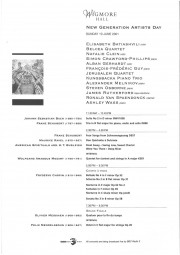 Programme, 2001, Wigmore Hall, New Generation Artists Day