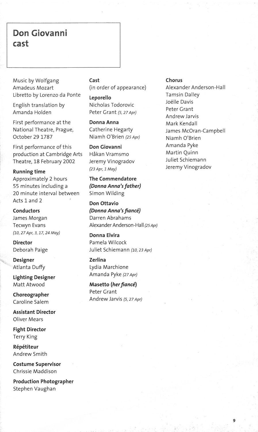 Programme, 2002, English Touring Opera