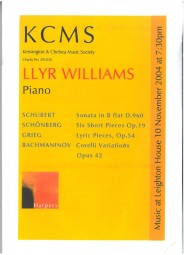 Programme, 2004, Kensington and Chelsea Music Society