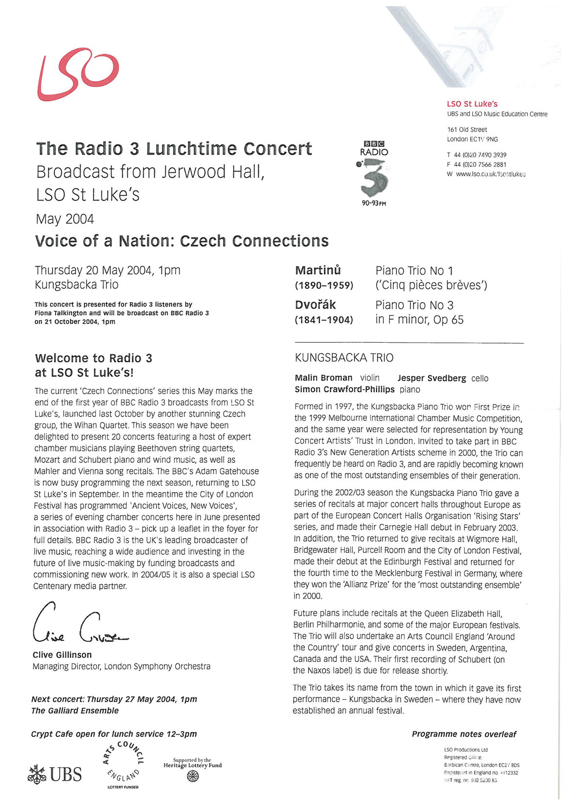 Programme, 2004, LSO Radio 3 Lunchtime Concert
