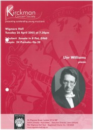 Programme, 2005, Kirckman Concert Society