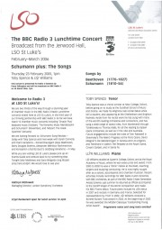 Programme, 2006, LSO BBC Radio 3 Lunchtime Concert