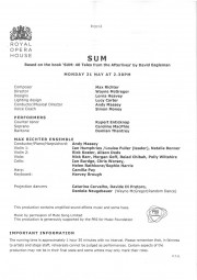 Programme, Sum, Royal Opera House