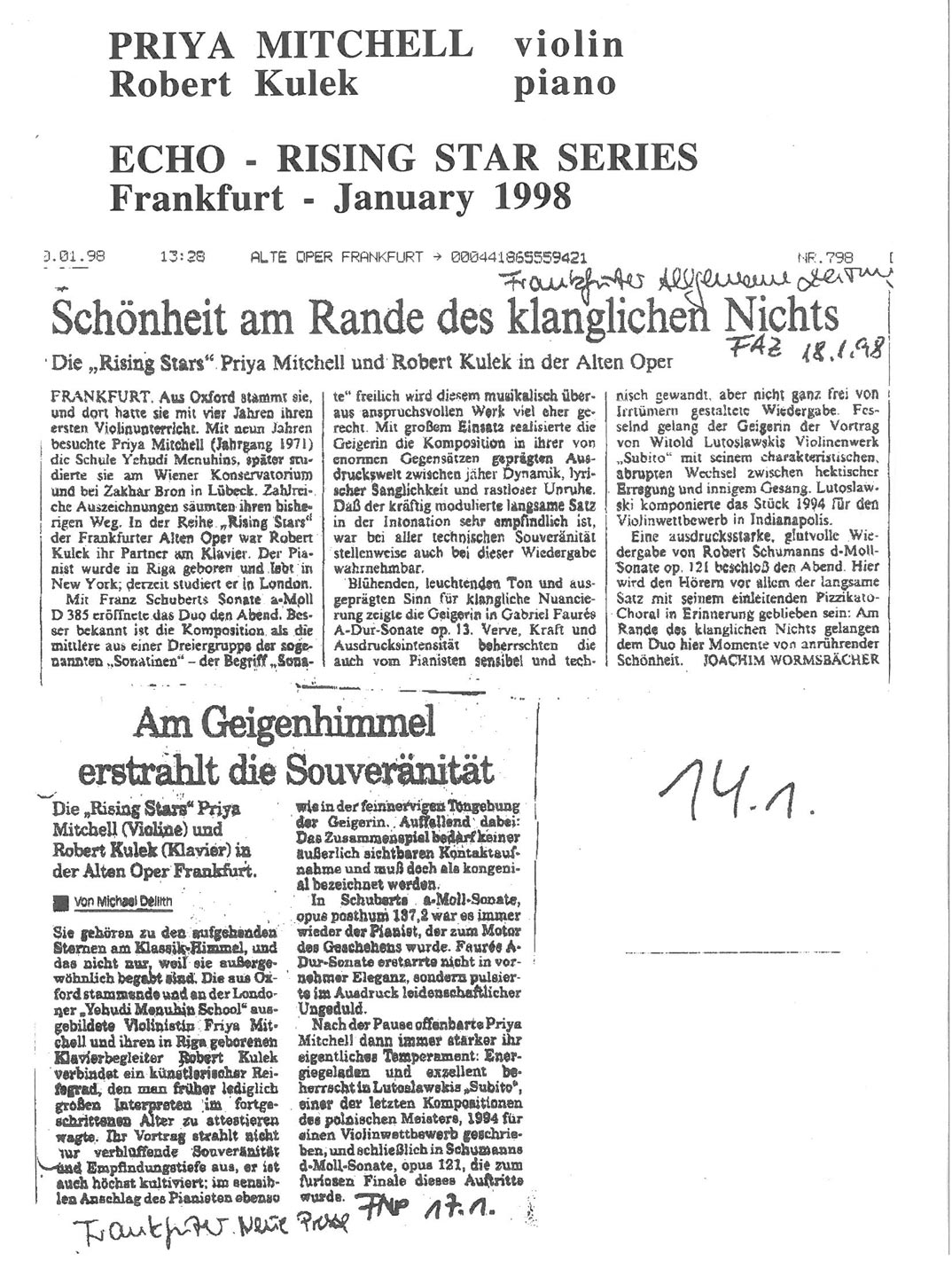 Review, 1998, ECHO Rising Star Series