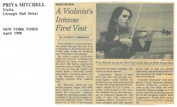 Review, 1998, New York Times, Carnegie Hall Debut