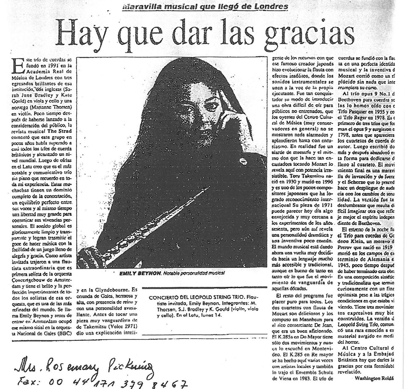 Review, 1999, Mozarteum Argentino