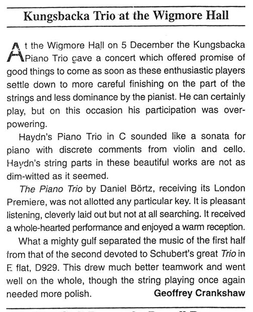 Review, 2001, Musical Opinion