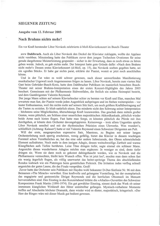 Review, 2005, Siegener Zeitung