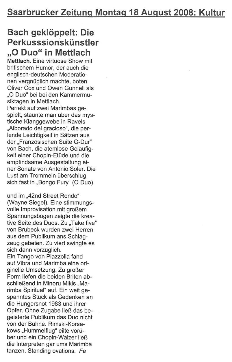 Review, 2008, Saarbrucker Zeitung
