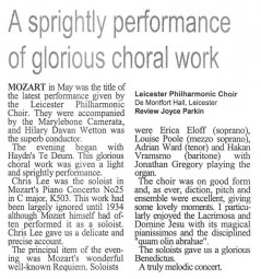 Review, Leicester Philharmonic Choir