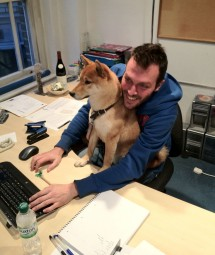 Gary Pomeroy with Logan at Garrick Street office