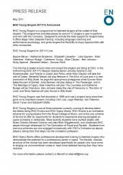 Press Release, ENO Young Singers 2011-12