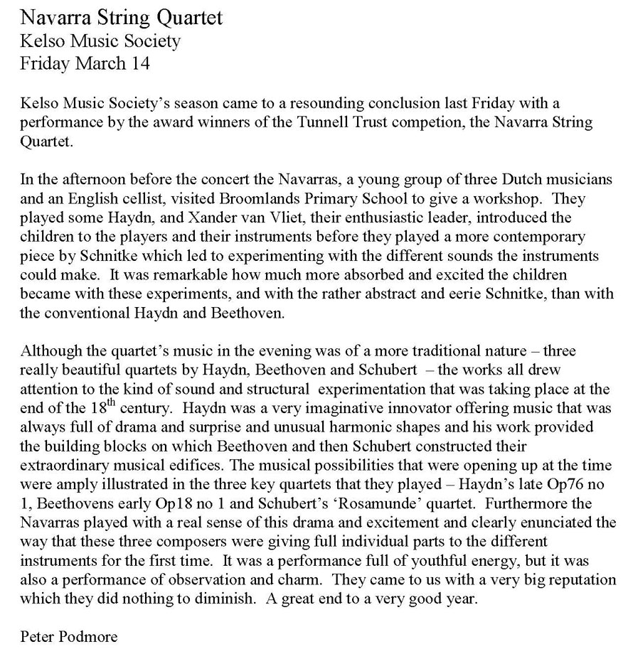 Review, 2008, Kelso Music Society