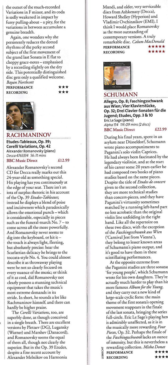 CD Review, 2010 BBC Music Magazine