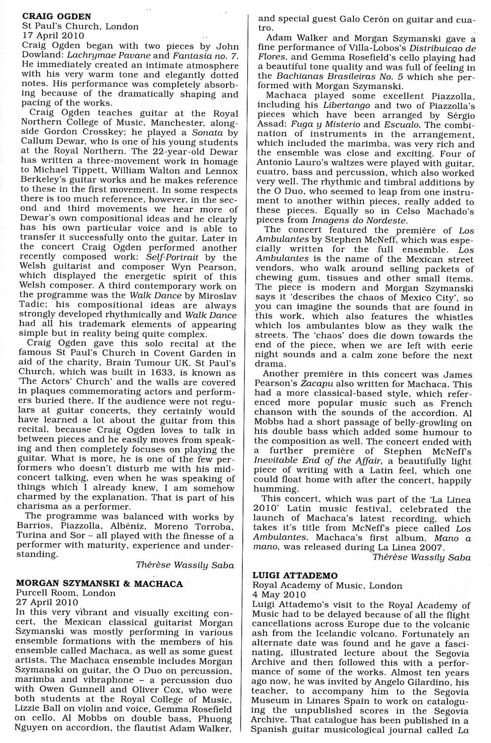 Review, 2010, Classical Guitar Magazine