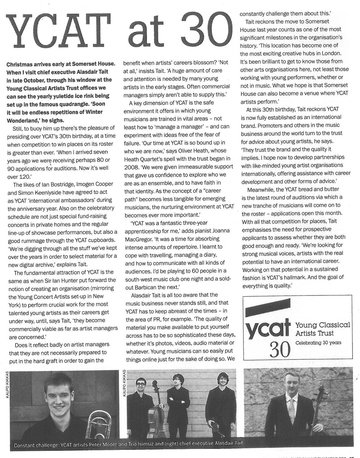 YCAT30 Feature, 2014, Classical Music
