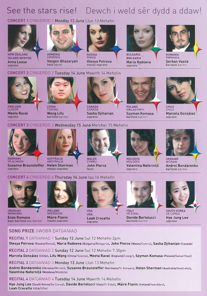 Programme, 2011 Cardiff Singer of the World