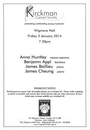 Programme, 2014, Kirckman Concert Society