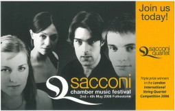 Leaflet, 2006, Sacconi Chamber Music Festival