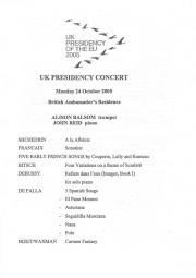Programme, 2005, UK Presidency Concert