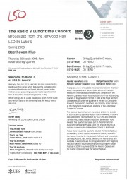 Programme, 2008, LSO Lunchtime Concert