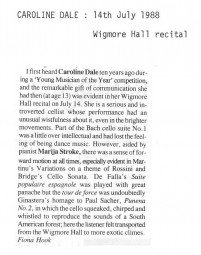 Review, 1988, Wigmore Hall