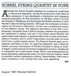 Review, 1991, Musical Opinion