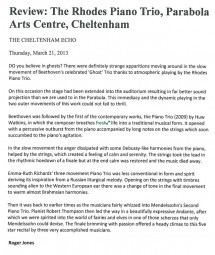 Review, 2013, Cheltenham Echo